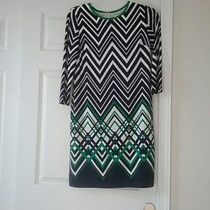 Navy, green and white ideal fall dress